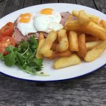 Large ham egg and chips