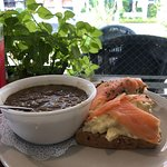Lentil Soup with Salmon Sandwich