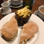 Fish finger sandwich and chips