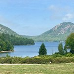 view of Jordan Pond from the outdoor seating at the Jordan Pond House