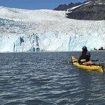 Kayaking in front of Aialik Glacier