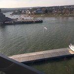 River boat heading down the Rhine. Deutsche Eck in top left of photo.