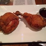 Gluten-free fried chicken with chipotle-honey dipping sauce.