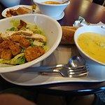 Caesar salad and broccoli cheese soup