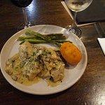 Veal and mushroom sauce with potato truffle croquet . Very good