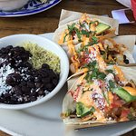 Lobster Taco - beans and rice