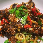 crispy chilli beef with udon noodles