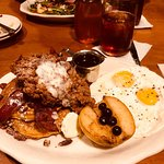 Shoo Mercy sweet potato pancakes with cider bacon, fried chicken and spiced pecans. To die for!!