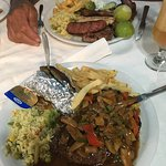 New York steak and mixed grill