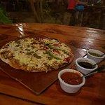 Half Poblana and half Mexicana pizza