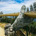 Golden Bridge with 2 hands at Ba Na Hills