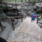 Very easy stairs down to the cenote.