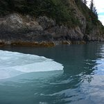 Kayaking past ice