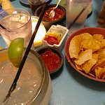 Chips, salsa and drinks while we waited for dinner