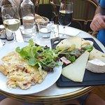 omlette + cheese platter + wine