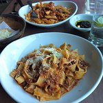 Pappardelle and penne with bolognese sauce