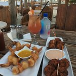 Coconut shrimp and conch fritters, yum!