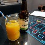 Fresh Orange Juice and Organic Kombucha Apple Crisp