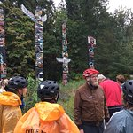 On a rainy day, Adam (red helmet), gave our group a delightful & informative tour.