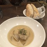 Creamed clam chowder (South Australian clams, pernod, dill flavours)