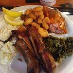 Ribs, greens, stuffed crab, fried shrimp and slaw