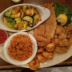 Seafood Combo Plate (3 Items) - Shrimp, Oysters, Flounder with Red Rice & Veggies