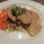 Pork loin with mash, roast potatoes, carotts, cabbage, apple sauce & a wholegrain mustard sauce