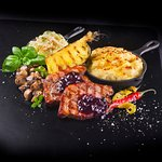 BBQ PORK NECK: Barbeque pork neck with grilled pineapple and champignons.