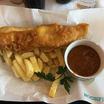 Cod , chips and curry sauce