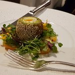 Chickpea and coriander egg starter