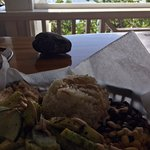 View of my food with the ocean behind
