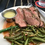 Bistro size tri-tip over fabulous garlicky green beans