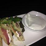 Ahi tuna tacos - served with horseradish sauce - fab
