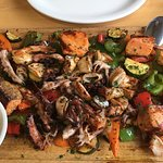 Mixed grilled seafood entree