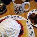 Swedish Cherry Pancakes With Side of Swedish Meatballs