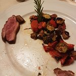 duck breast with burnt vegetables