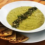 Lebanese Green Split Pea Soup with Za'atar and Flatbread