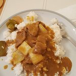 Plated beef curry