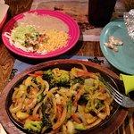 Veggie Fajitas with Guacamole, Rice, and Refried Beans