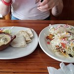 Queso fundido and fish tacos
