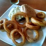 Cuban Sandwich with chips and Crab Imperial Burger with Onion Rings