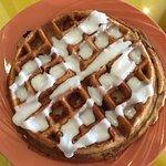 cinnamon waffle with bacon inside