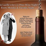 1/2 PRICE WINE ON MONDAY & TUESDAY EVENINGS!