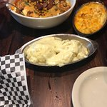 Shrimp and grits, mac and cheese, smashed potatoes.