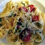 Fettucini in lemon & cream, with basil and roasted tomatoes