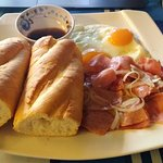 'Vietnamese Breakfast', baguette, eggs, ham, onion