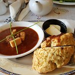 Soup and toasted scone.