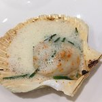 Grilled Orkney Scallop, Almods, yuzu butter and verbena