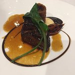 Barbecued short rib and croustillant of bbef, chard and roasting juices