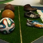Samples of shoes and balls
